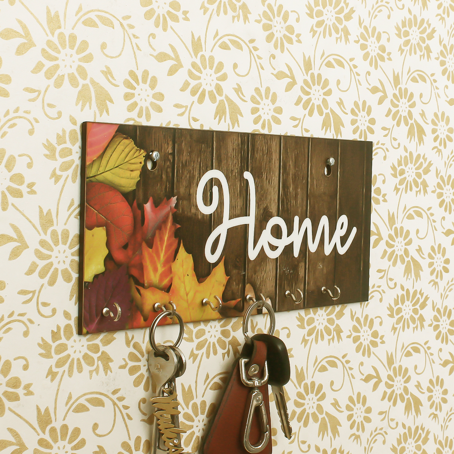 Home Theme Wooden Key Holder with 7 Hooks Indian Home Decor