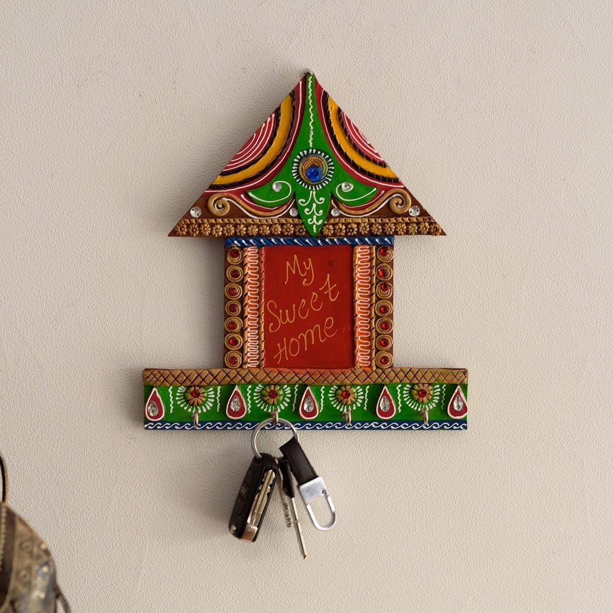My Sweet home Hut Shape Papier-Mache Wooden Keyholder Indian Home Decor