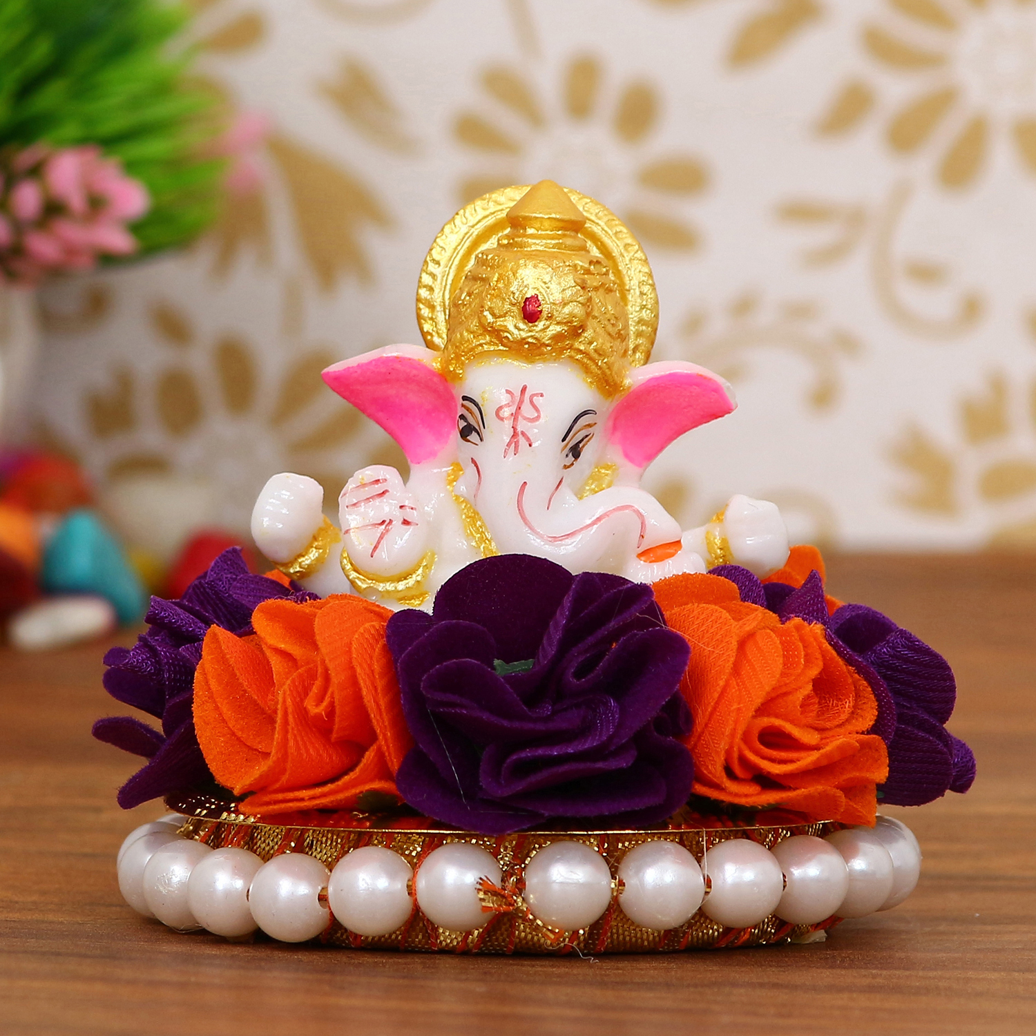 Lord Ganesha Idol on Decorative Handcrafted Plate with Orange and Purple Flowers Indian Home Decor