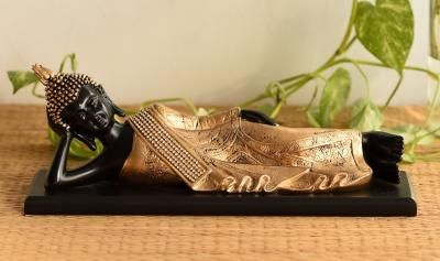 Polyresin Resting Buddha on Wooden Board Indian Home Decor