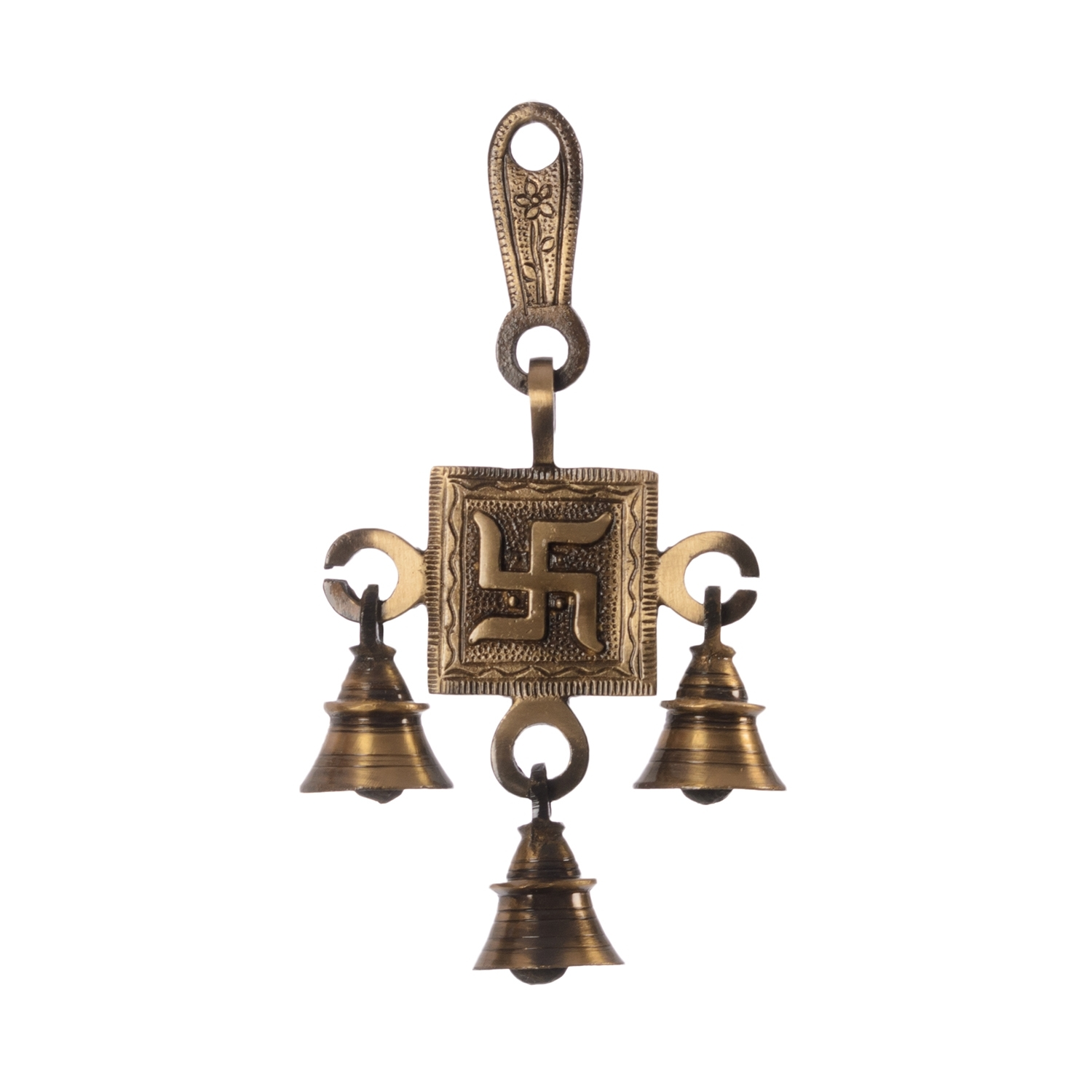 Swastik Brass Hanging Bells Indian Home Decor
