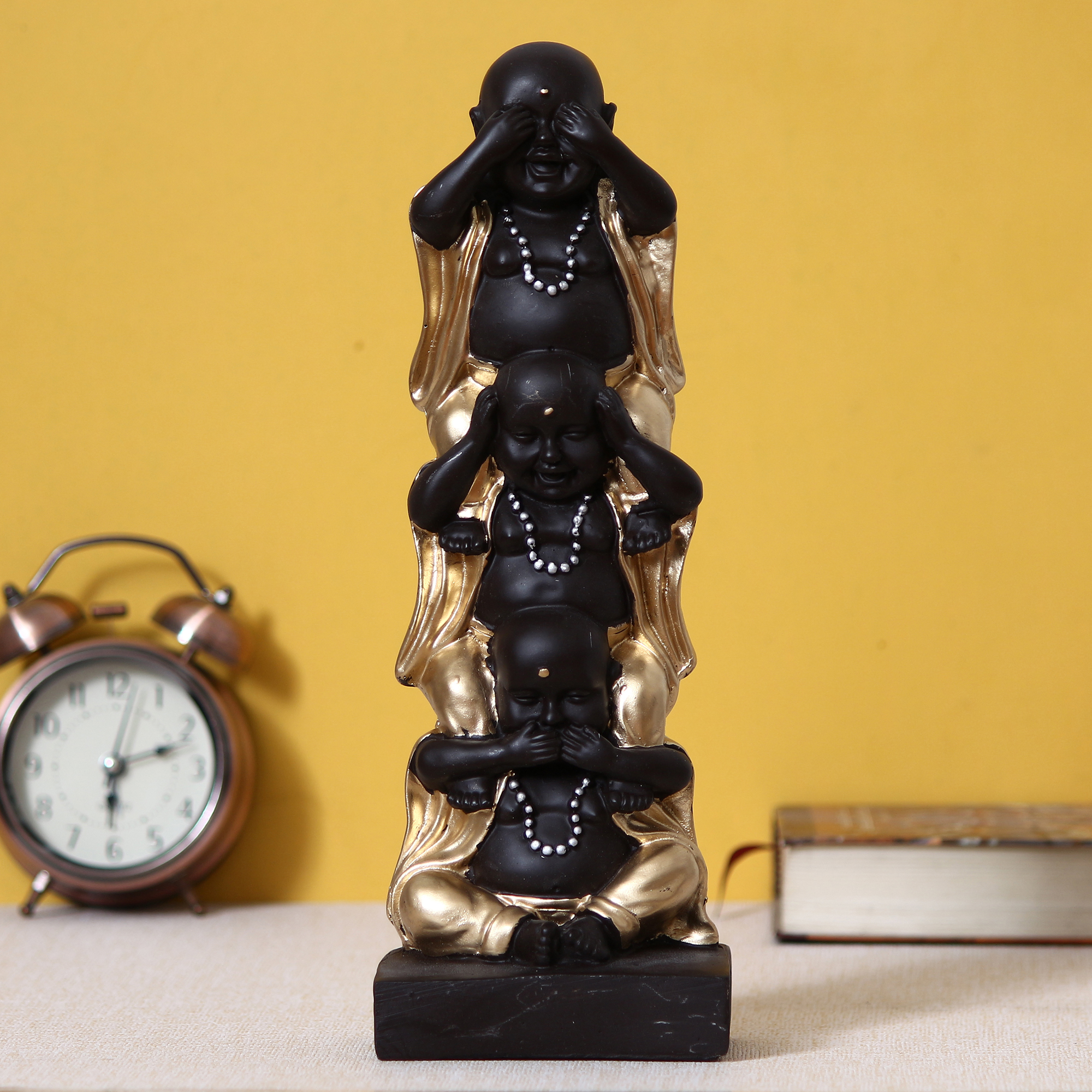 Set of 3 Golden Laughing Buddha Standing on each other Decorative Showpiece Indian Home Decor