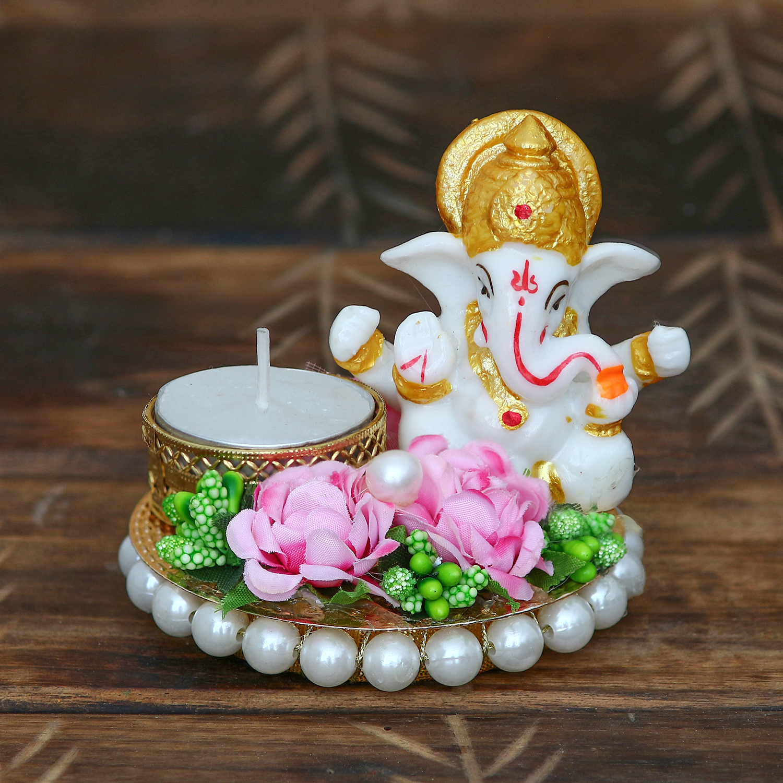 Lord Ganesha Idol on Decorative Plate with Tea Light Holder Indian Home Decor