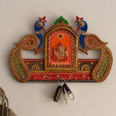 Lord Ganesha and Peocock Papier-Mache Wooden Keyholder Indian Home Decor