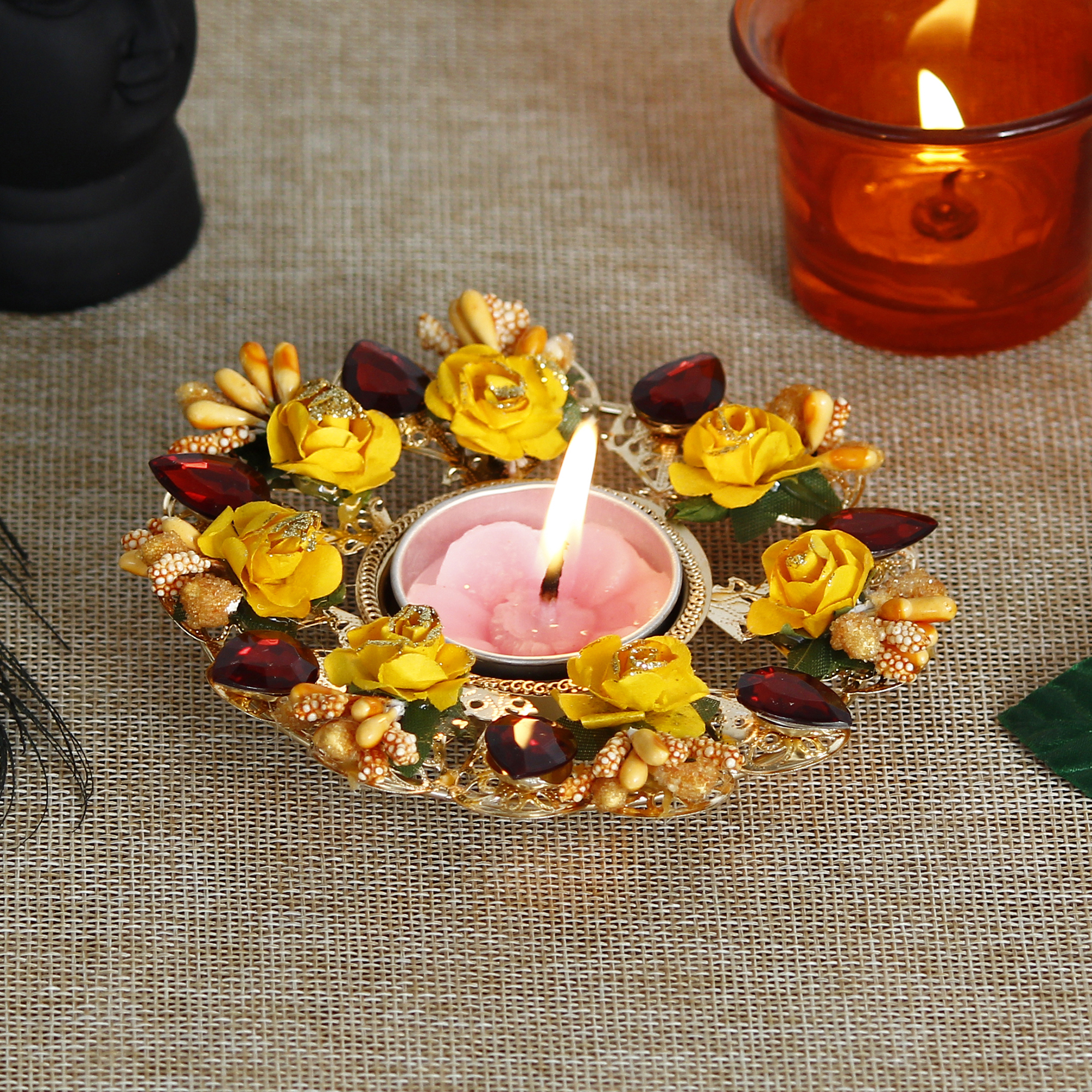 Decorative Handcrafted Yellow and Red Floral Tea Light Holder Indian Home Decor