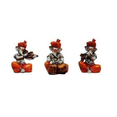 Set of 3 Ganesha Playing Violen, Tabla and Flute Indian Home Decor