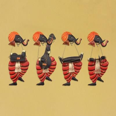 Set Of 4 Musician Lord Ganesha Iron Wall Hanging Indian Home Decor
