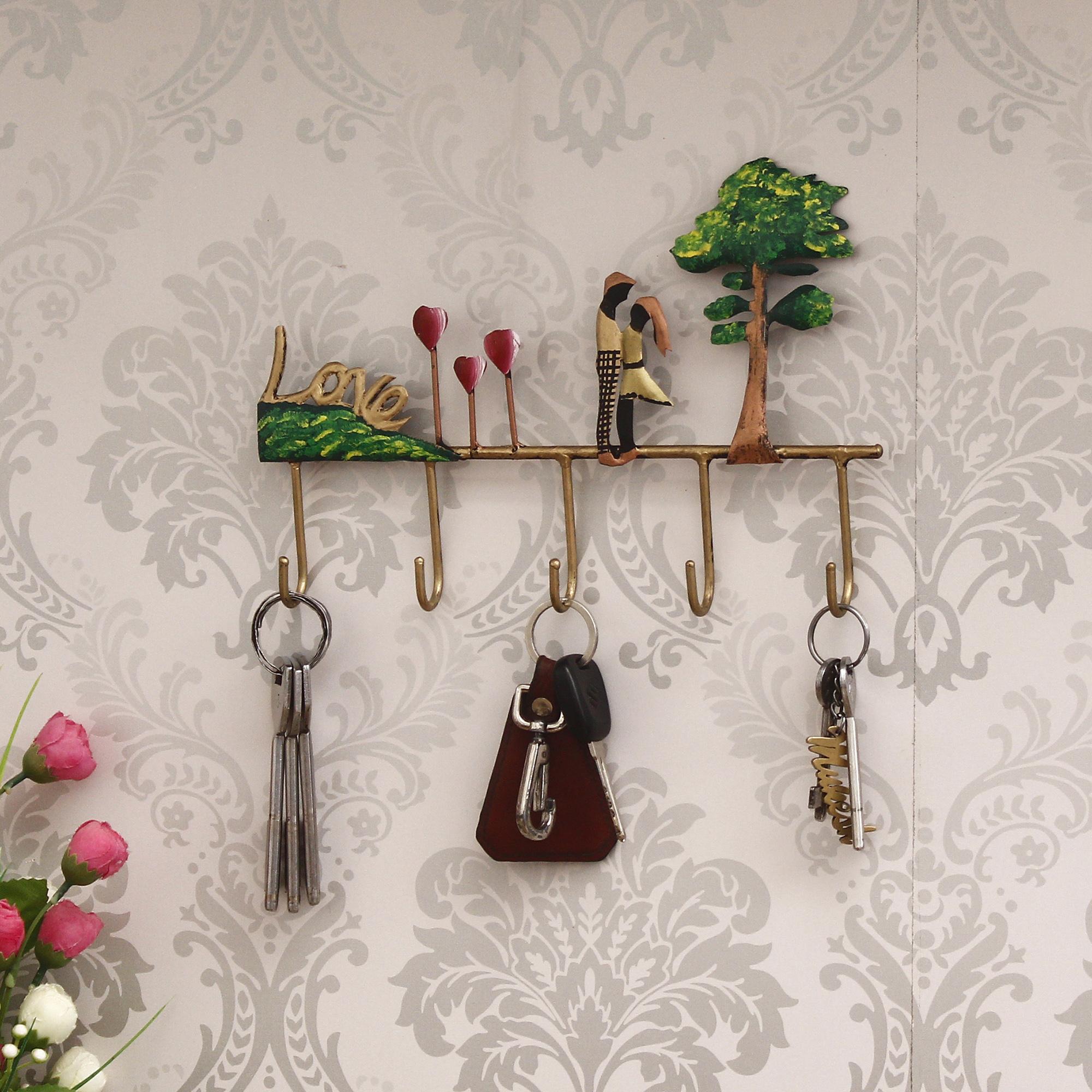 Love Theme Colorful Tribal Art 5 Hooks Iron Key Holder Indian Home Decor
