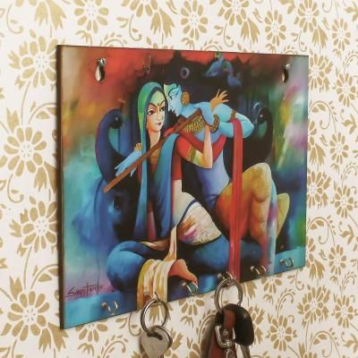 Radhe Krishna Theme Wooden Key Holder with 6 Hooks Indian Home Decor
