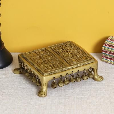 Brass Traditional Pooja Chowki with Bells Indian Home Decor
