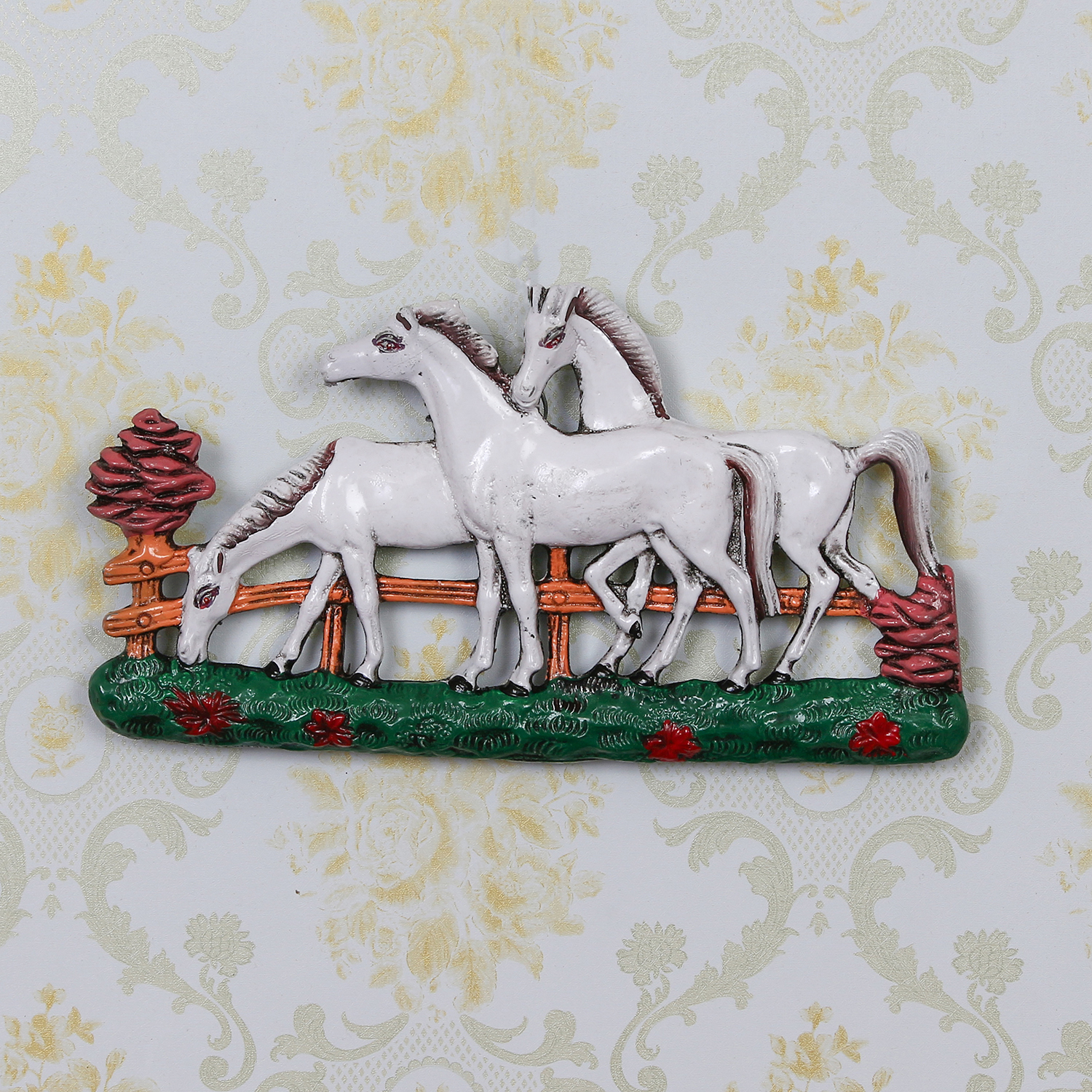 Set of 3 White Horses Decorative Wall Hanging Indian Home Decor