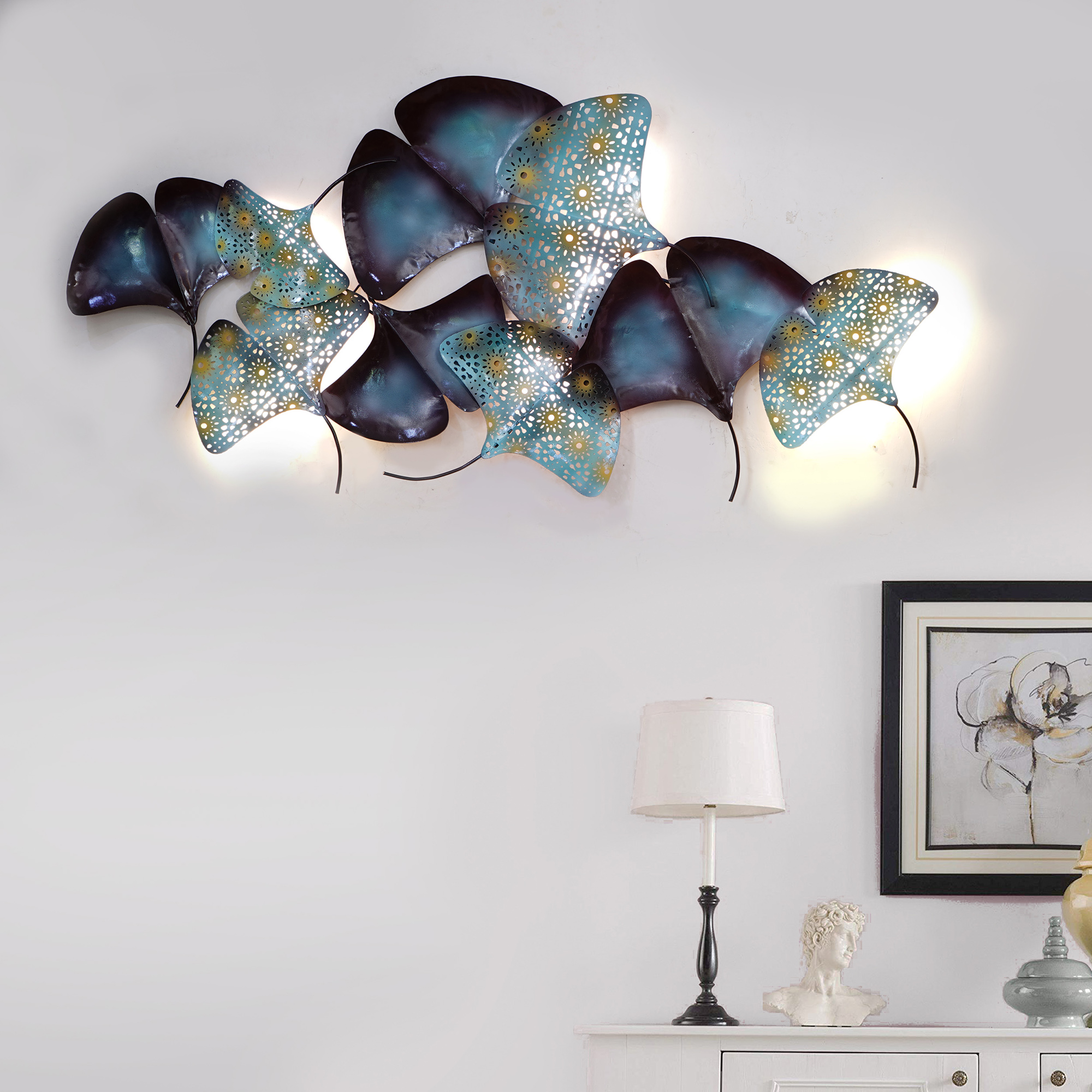 Abstract Colorful Leaves Collection Handcrafted Iron Wall Hanging with Background LEDs Indian Home Decor