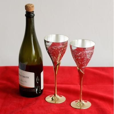 German Silver Grand Wine Glass Set of 2 with Velvet Box Indian Home Decor