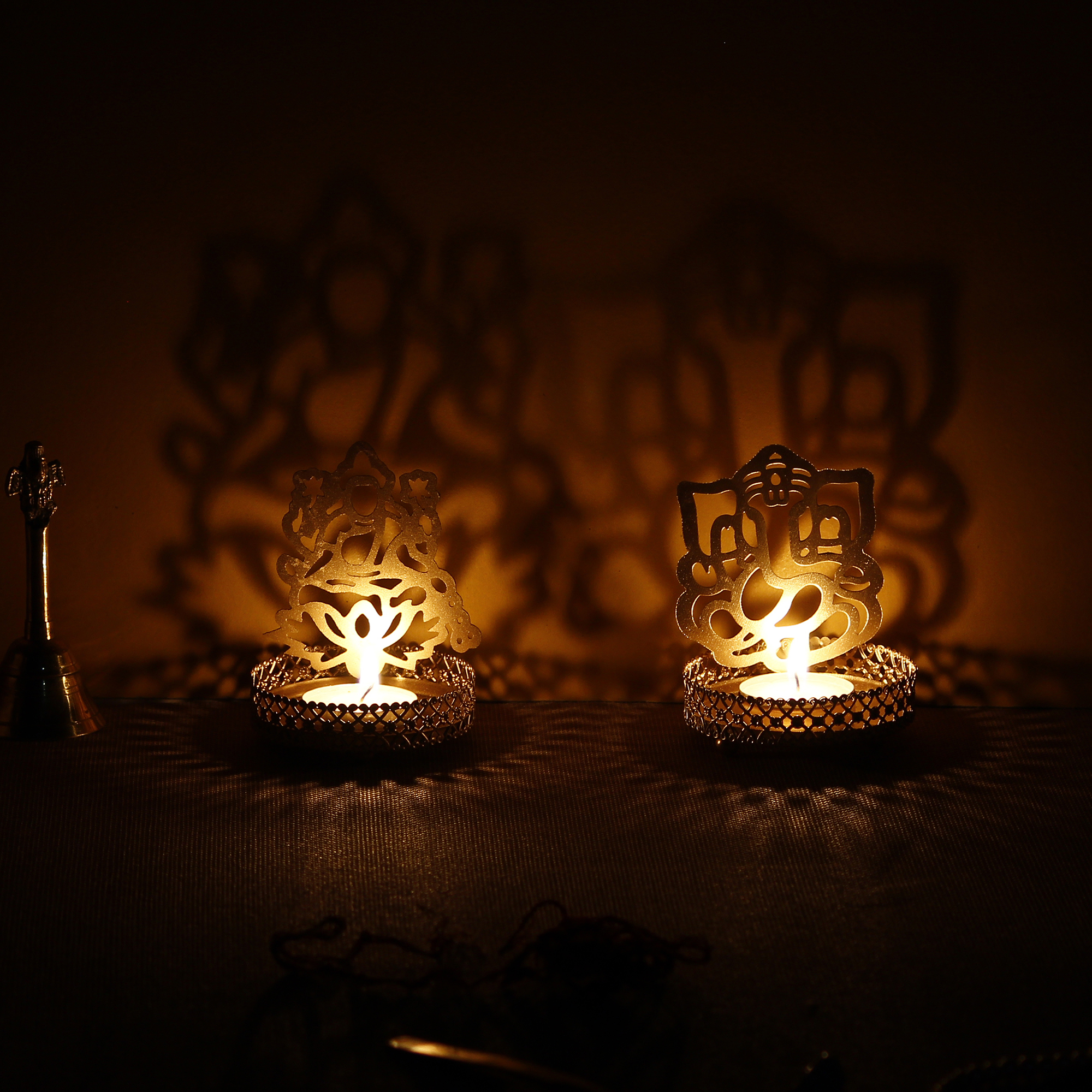 Lord Ganesha and Laxmi Shadow Tea Light Holder Indian Home Decor