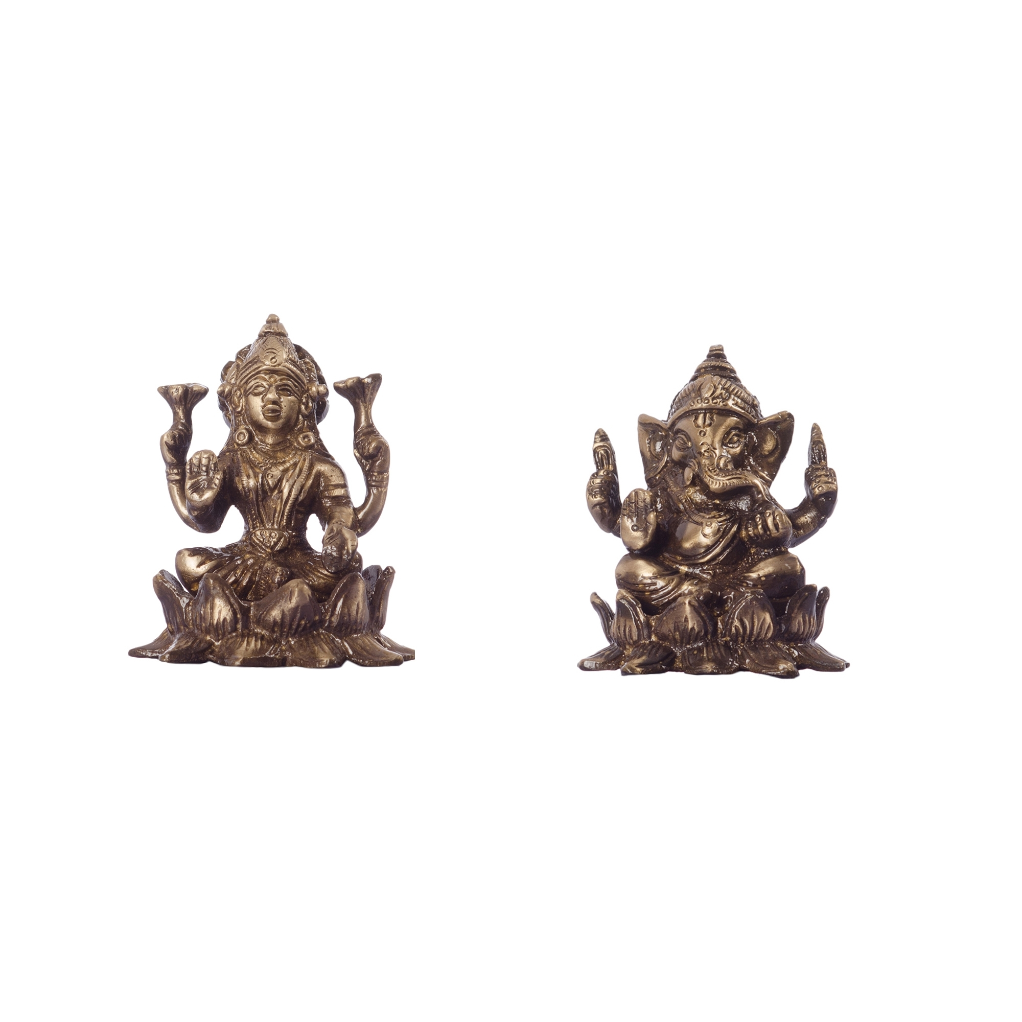 Antique Finish Brass Laxmi Ganesha on Lotus Indian Home Decor