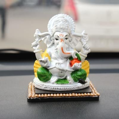 Decorative Lord Ganesha Showpiece for Car Dashboard, Home Temple and Office Desks Indian Home Decor