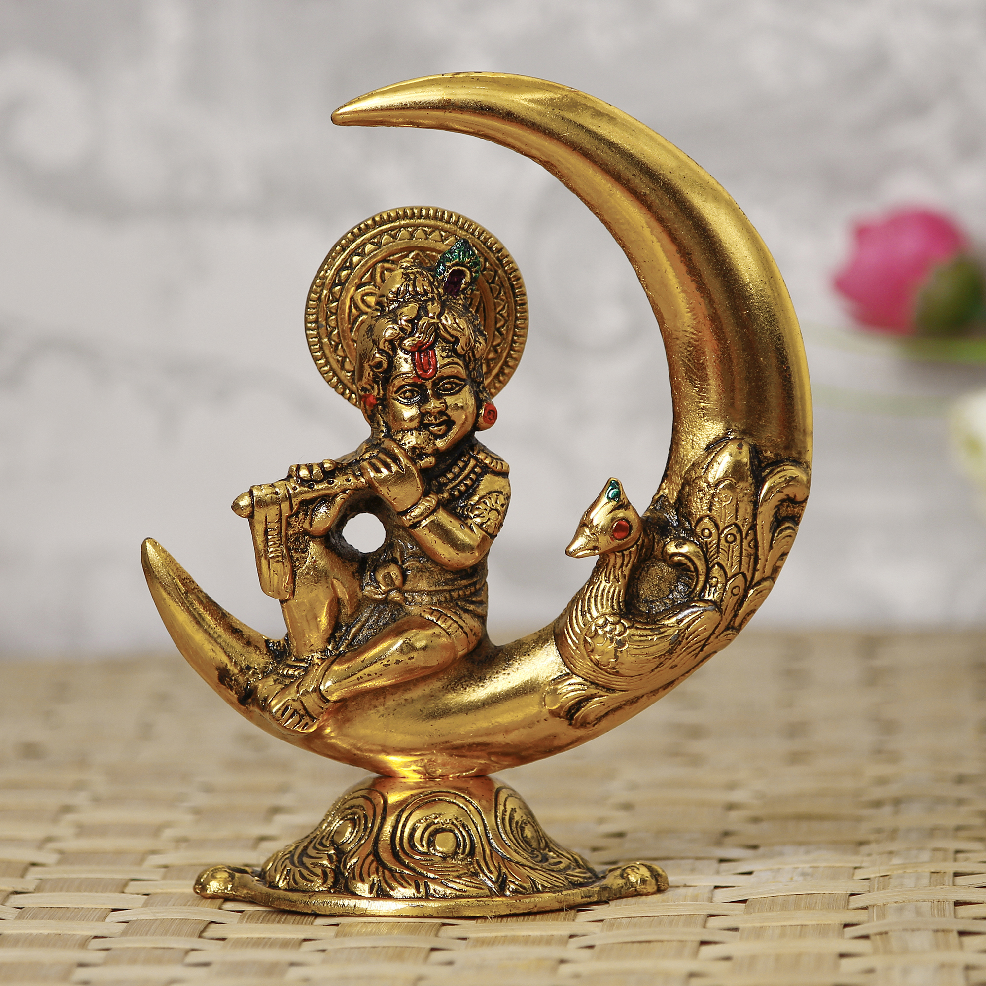 Golden Lord Krishna Idol Metal Decorative Showpiece Indian Home Decor