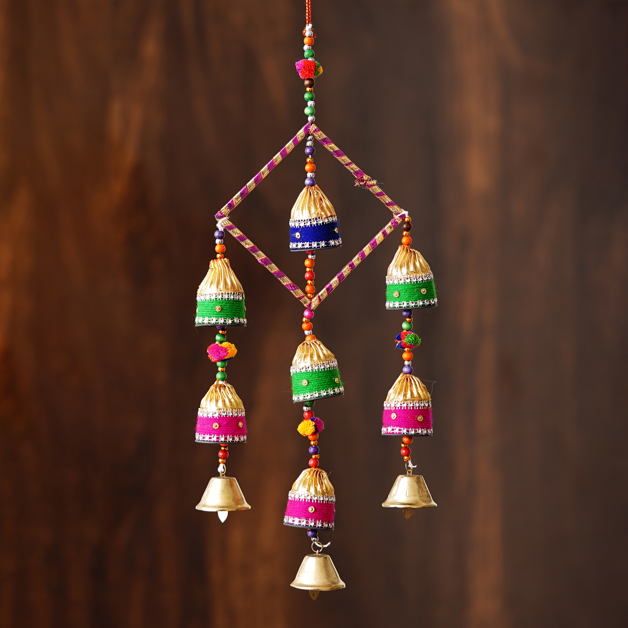 Handcrafted Decorative Colorful Wall/Door/Window Hanging Bells Indian Home Decor
