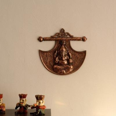 Lord Ganesha on Phanki Metal Wall Hanging Indian Home Decor