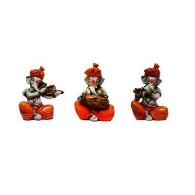 Set of 3 Ganesha Playing Violen, Dholak, and Flute Indian Home Decor