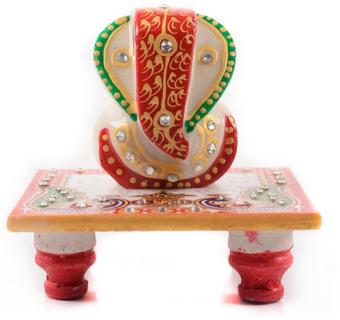 Marble Lord Ganesha Chowki with Peocock and Kalash Indian Home Decor