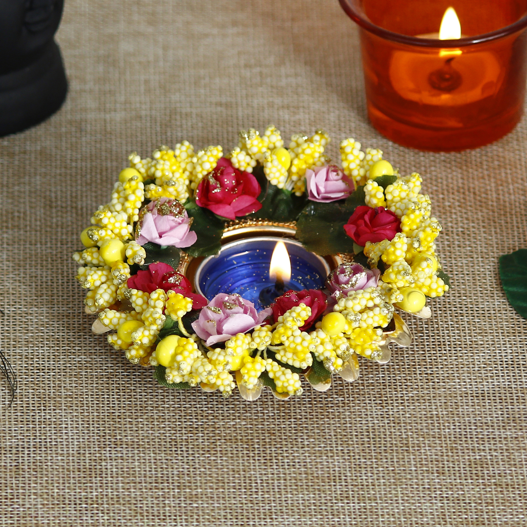 Decorative Handcrafted Yellow Floral Tea Light Holder Indian Home Decor