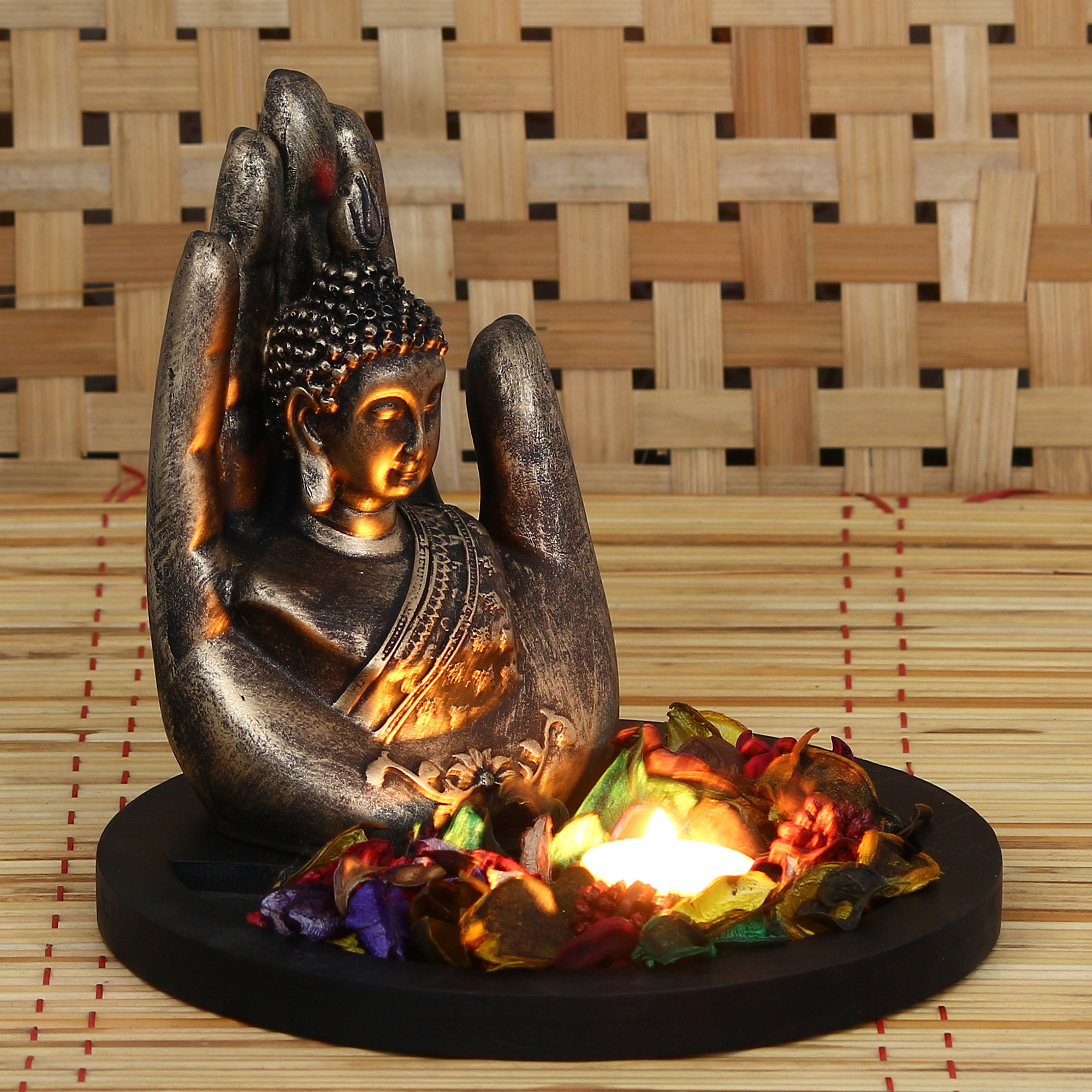 Copper Finish Handcrafted Palm Buddha Decorative Showpiece with Wooden Base, Fragranced Petals and Tealight Indian Home Decor