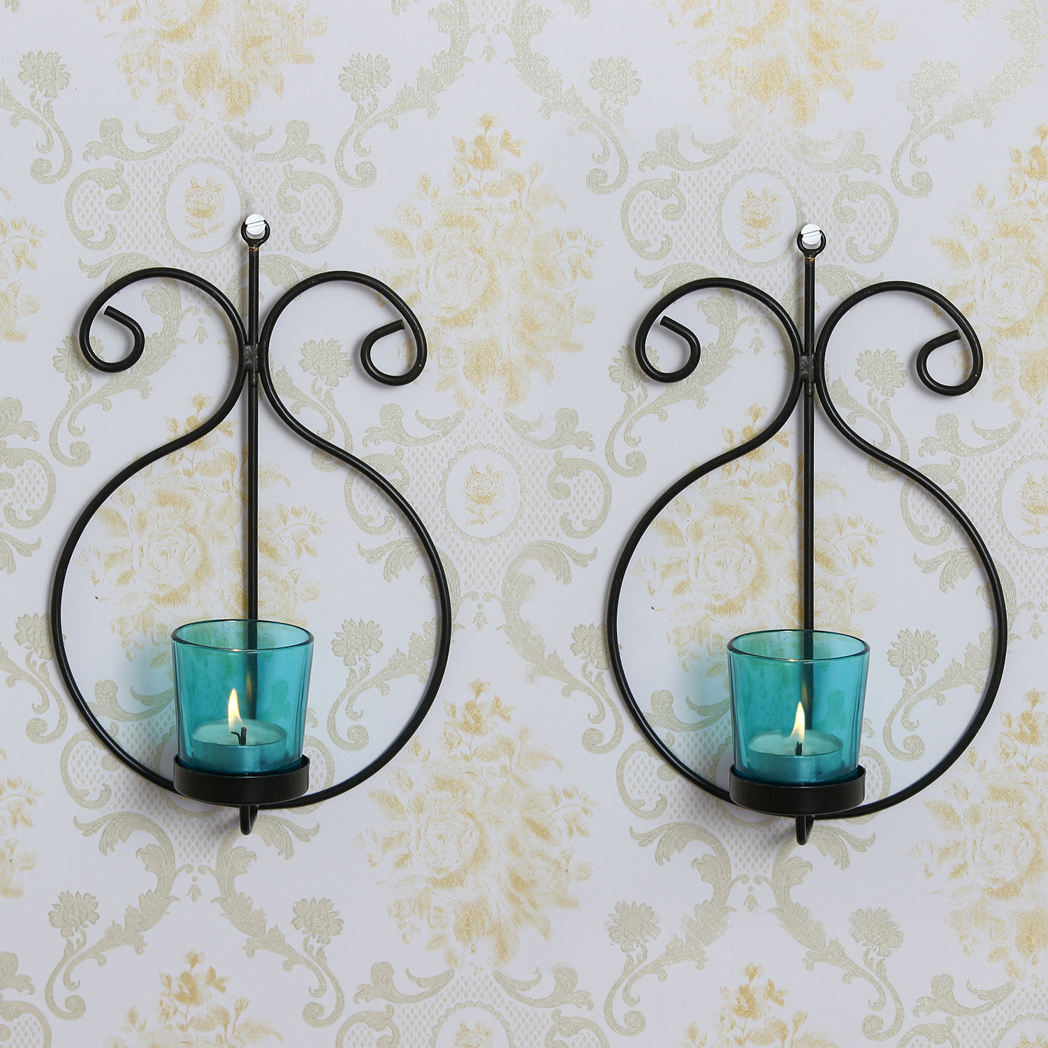2 Blue Glass Cup Black Tea Light Candle Holder with Wall Sconce Indian Home Decor