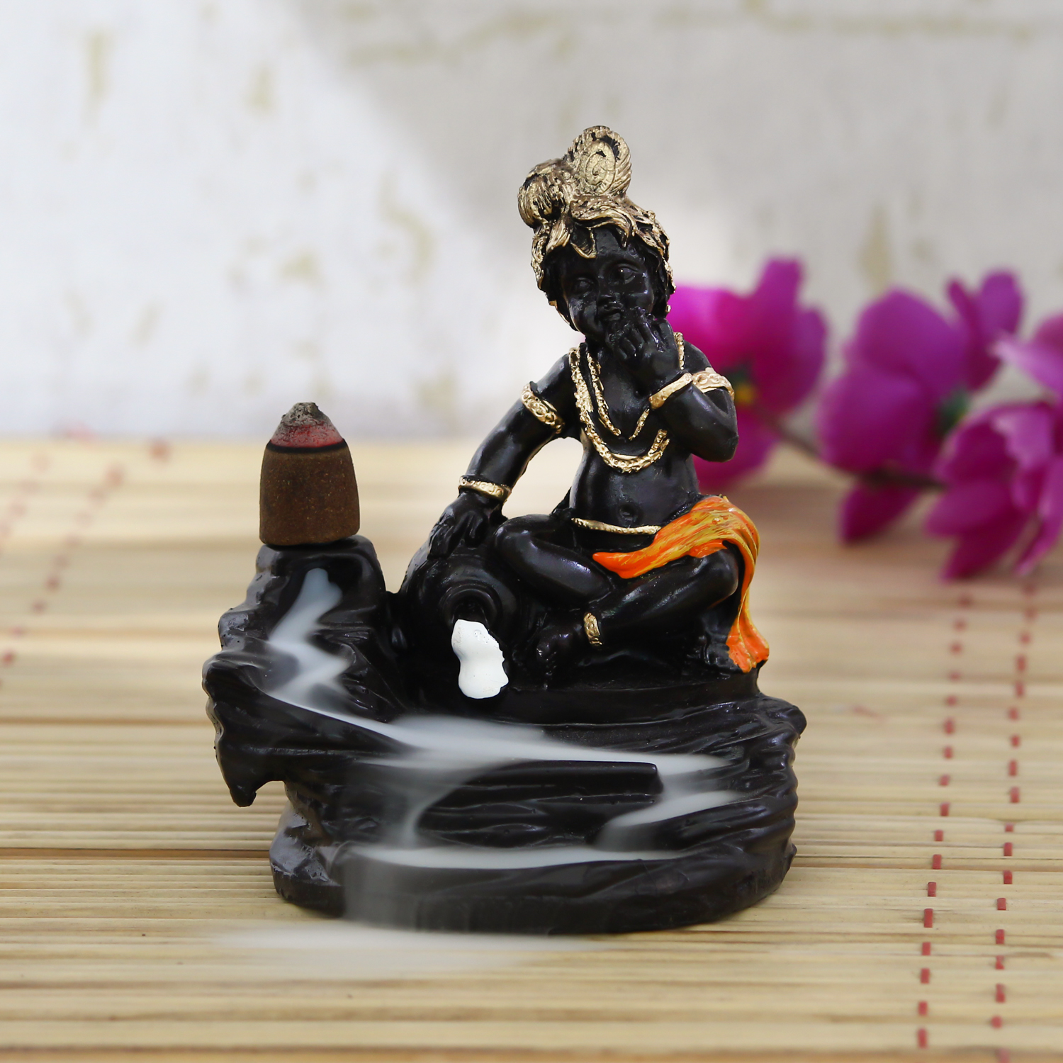 Lord Orange Krishna Smoke Backflow Cone Incense Holder Decorative Showpiece with 10 free Smoke Backflow Scented Cone Incenses Indian Home Decor