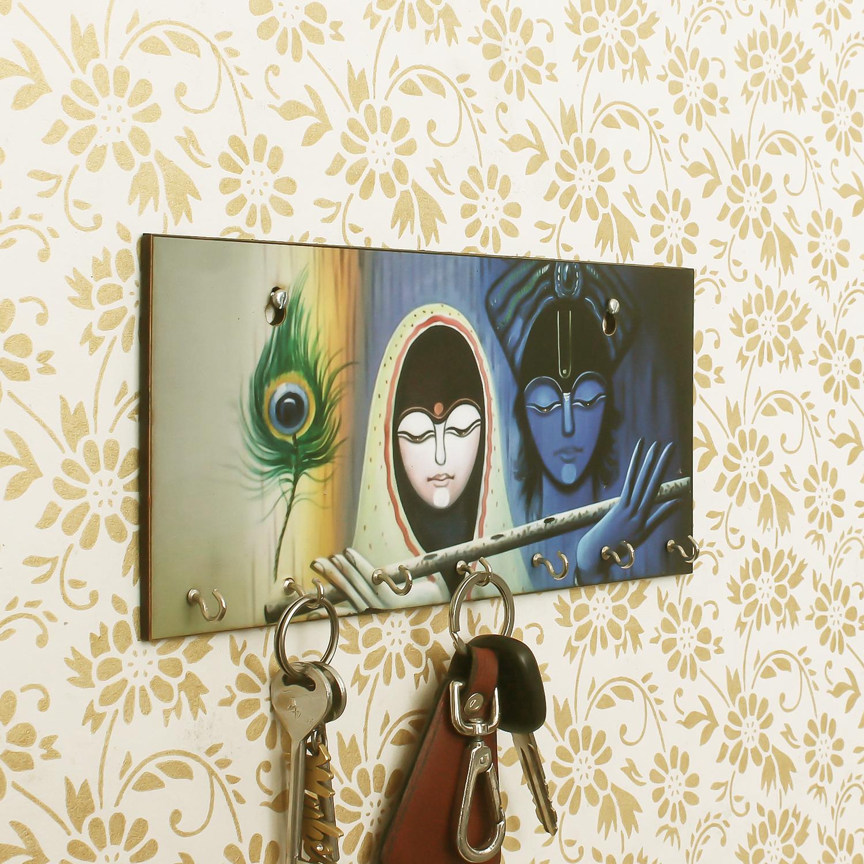 Radhe Krishna Theme Wooden Key Holder with 7 Hooks Indian Home Decor