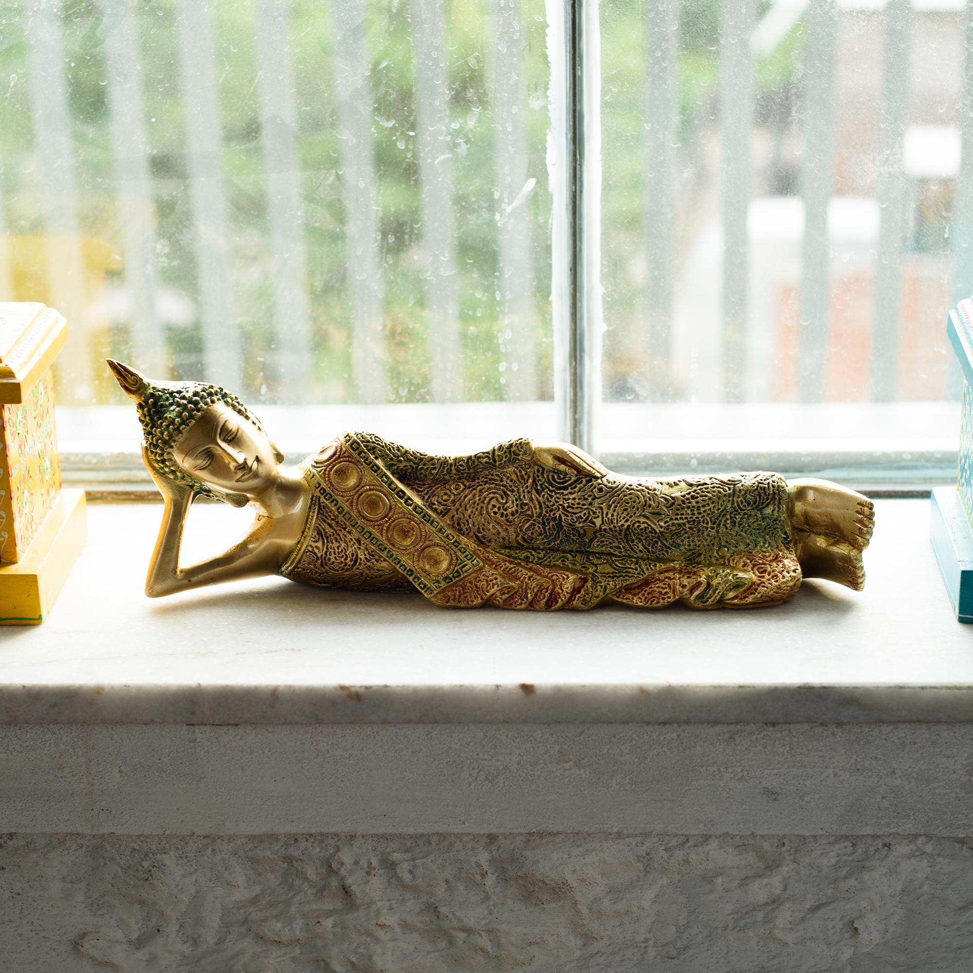 Brass Decorative Thai Reclining Buddha Antique Showpiece Indian Home Decor
