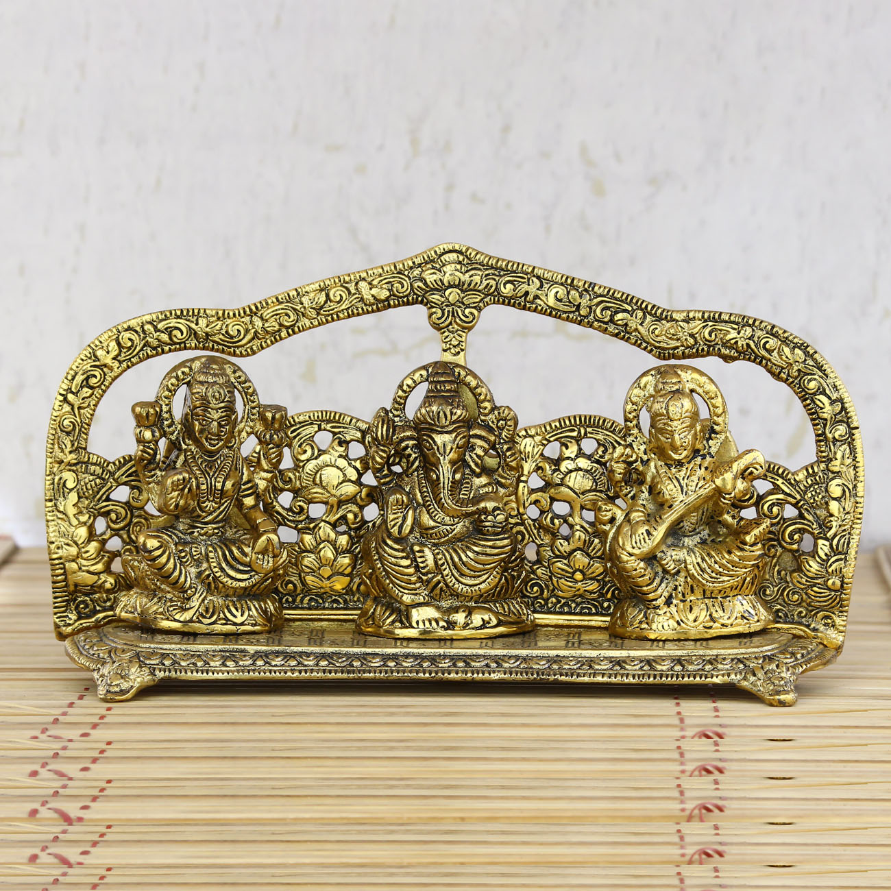 Golden Laxmi Ganesha Saraswati Shining Religious Decorative Showpiece Indian Home Decor