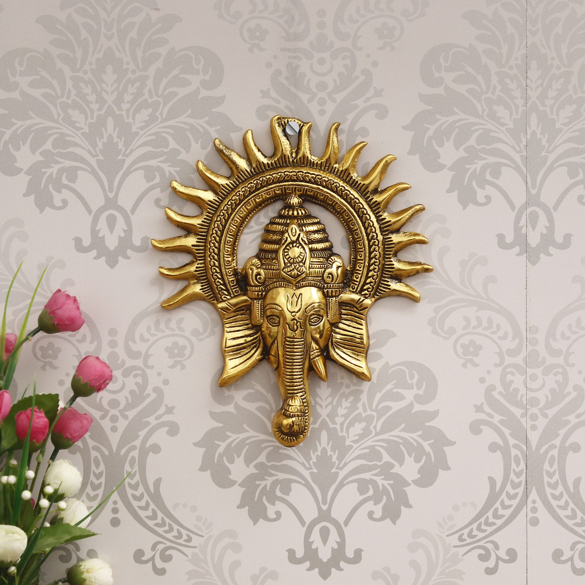 Golden Lord Ganesha with Sun Decorative Metal Wall Hanging Indian Home Decor