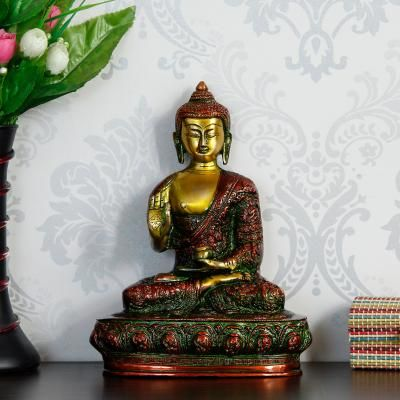 Golden and Red Premium Meditating Blessing Big Buddha Brass Antique Artifact Indian Home Decor