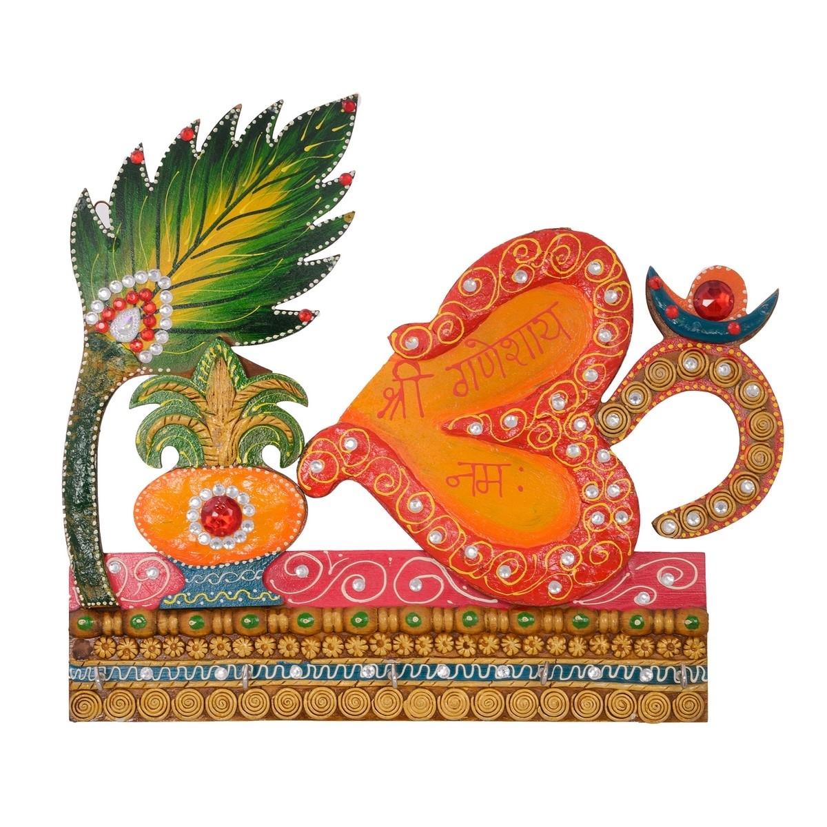 Papier-Mache Om and Krishna Design Key Holder Indian Home Decor