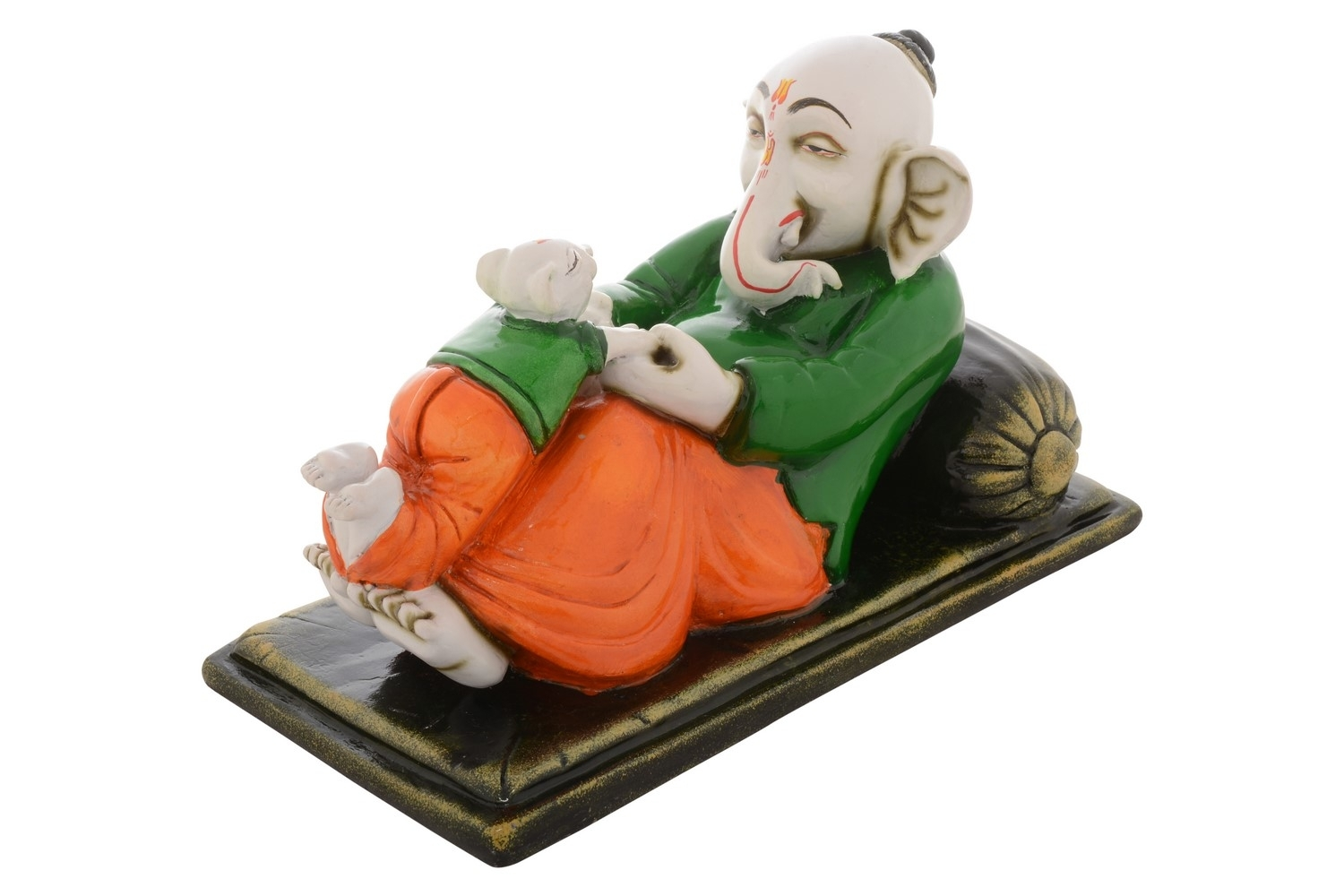 Premium Figurine of Lord Ganesha playing with Mouse Indian Home Decor