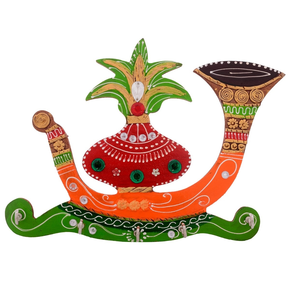 Papier-Mache Kalash Shehnai 5 Hooks Key holder Indian Home Decor