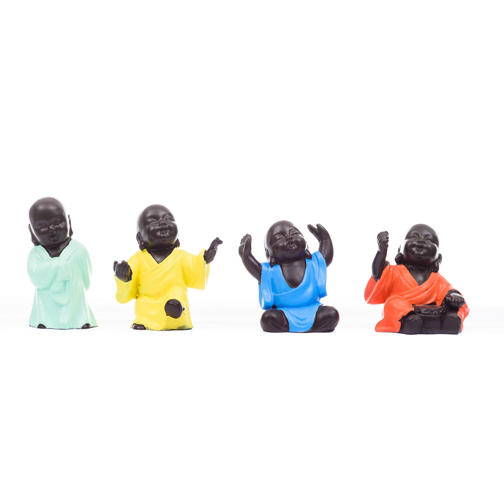 Handcrafted Set of 4 Meditating Buddha- For Home Decor| office Decor| Christmas Decor| Diwali Decor| Vaastu Decor| Fengshui Indian Home Decor