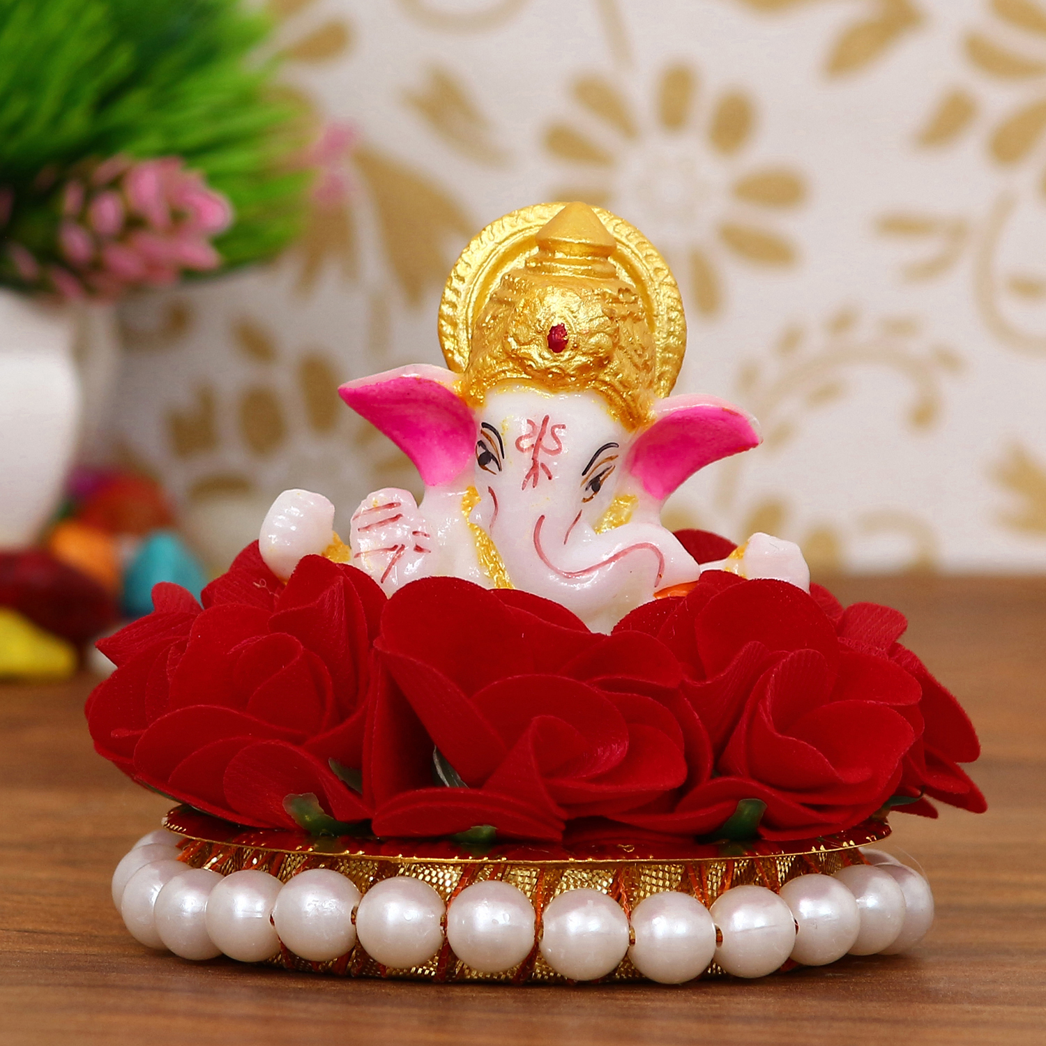 Lord Ganesha Idol on Decorative Handcrafted Plate with Red Flowers Indian Home Decor