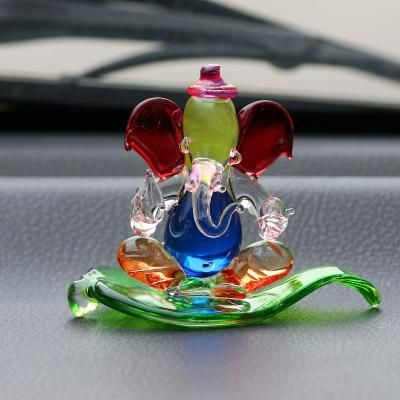 Multicolored and Transparent Double Sided Crystal Car Paan Ganesha Showpiece Indian Home Decor