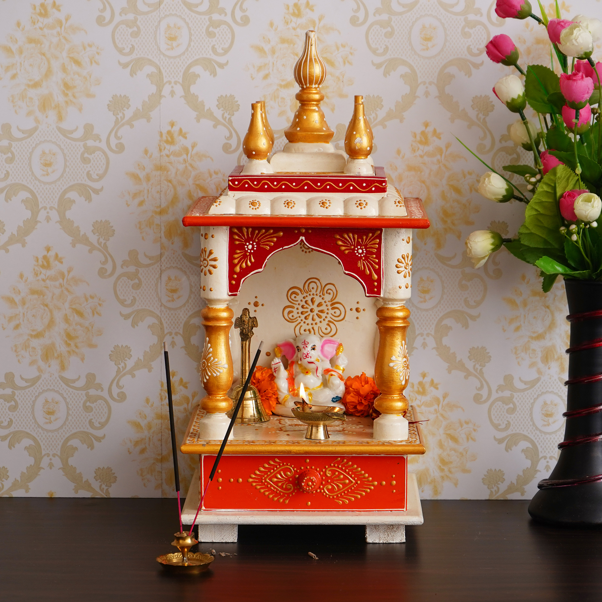 White and Red Mango Wood Pooja Temple/Mandir with Storage Option Indian Home Decor
