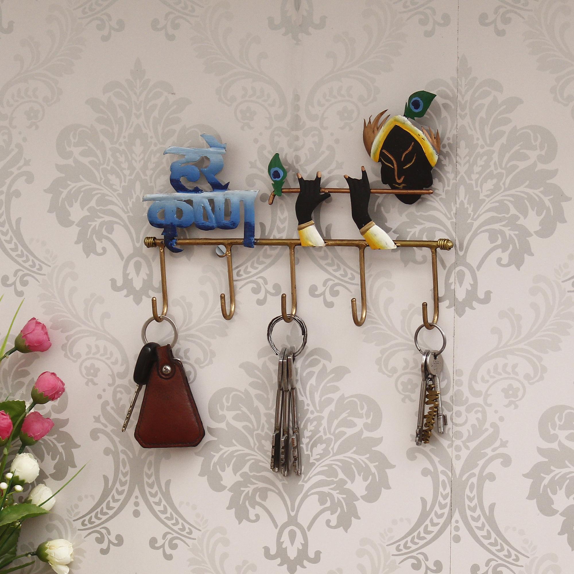 Hare Krishna Colorful Tribal Art 5 Hooks Iron Key Holder Indian Home Decor