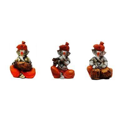 Set of 3 Ganesha Playing Tabla, Flute and Dholak Indian Home Decor