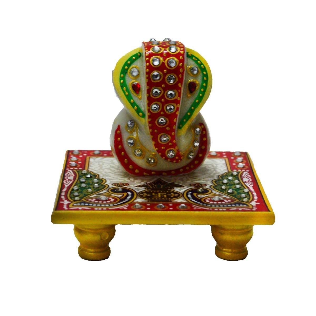 Marble Crystal studded Lord Ganesha Chowki with Peocock and Kalash Indian Home Decor
