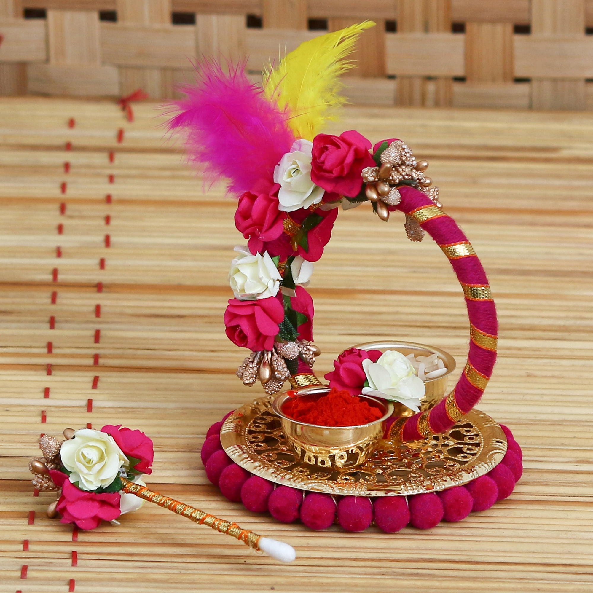 Handcrafted Decorative Roli Tikka Holder with designer stick and Colorful Feathers Indian Home Decor