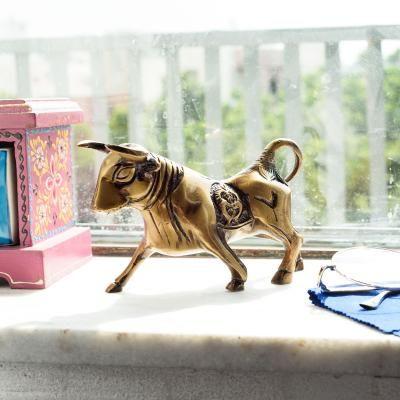 Brass Kamdhenu Cow Sculpture Indian Home Decor