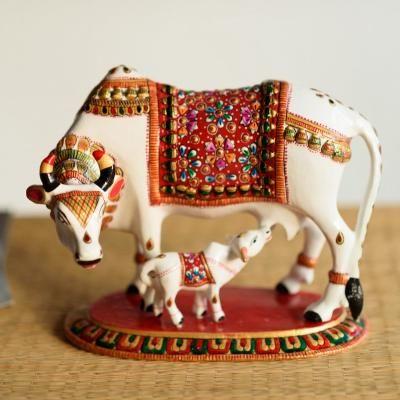 Meenakari Metal Colorful Cow And Calf Figurine Indian Home Decor