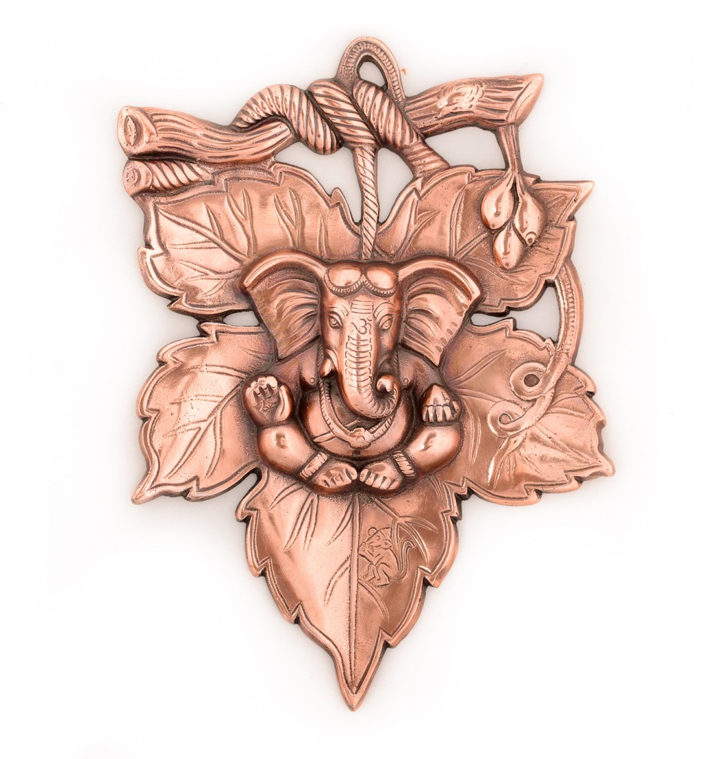 Metal wall hanging of Lord Ganesha on Creative Leaf Indian Home Decor