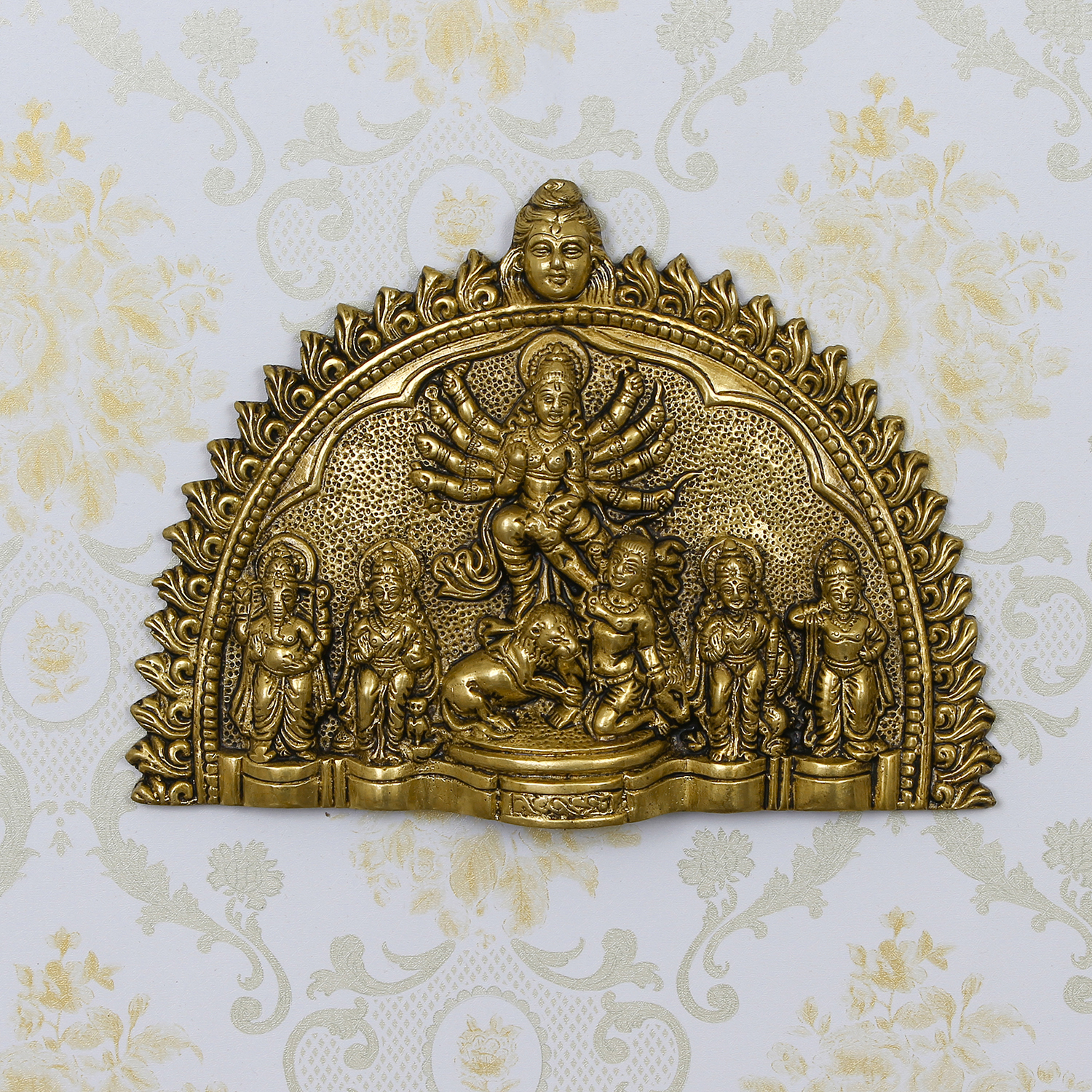 Goddess Durga Mata Brass Wall Hanging Indian Home Decor