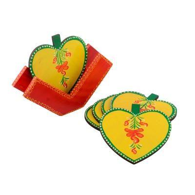 Apple Design Wooden Tea Coasters - Set of 6 Indian Home Decor
